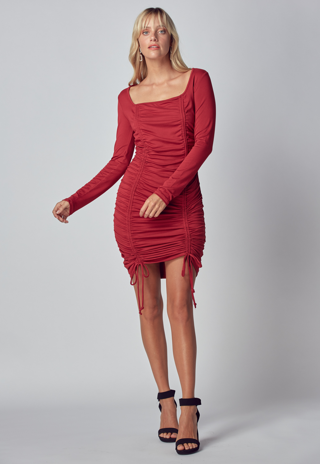 Square Neck Drawstring Dress