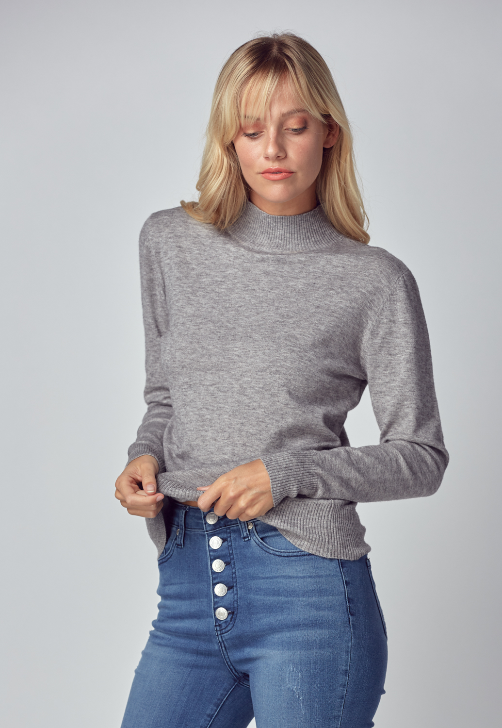 Basic Mock Neck Knit Sweater