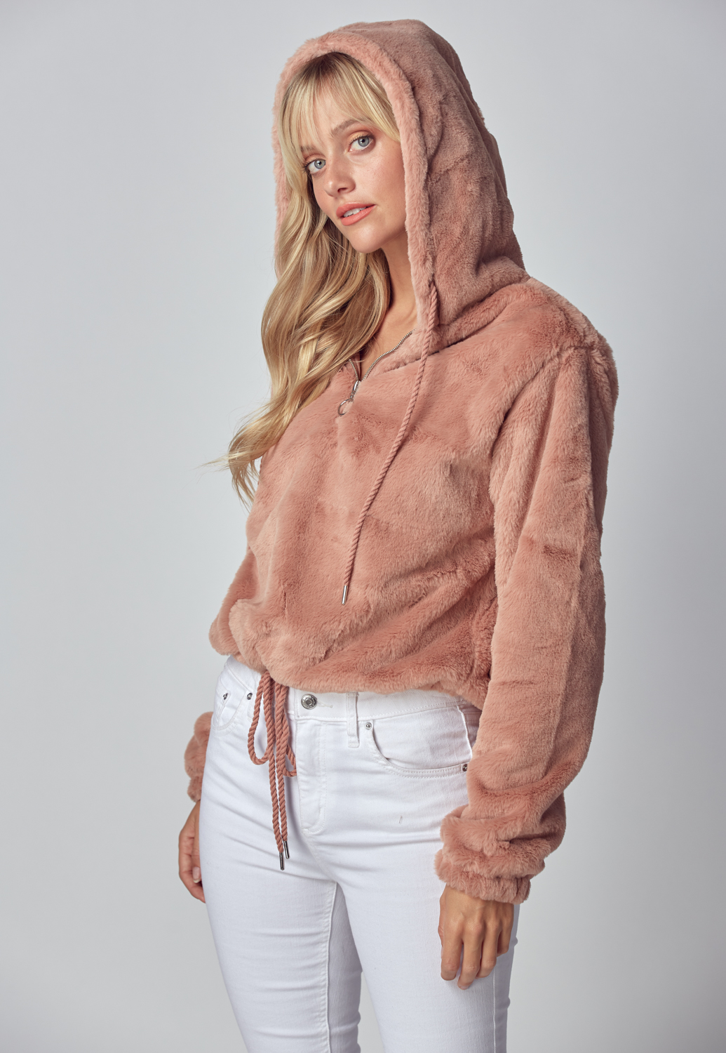 Drawstring Detailed Teddy Bear Hoodie