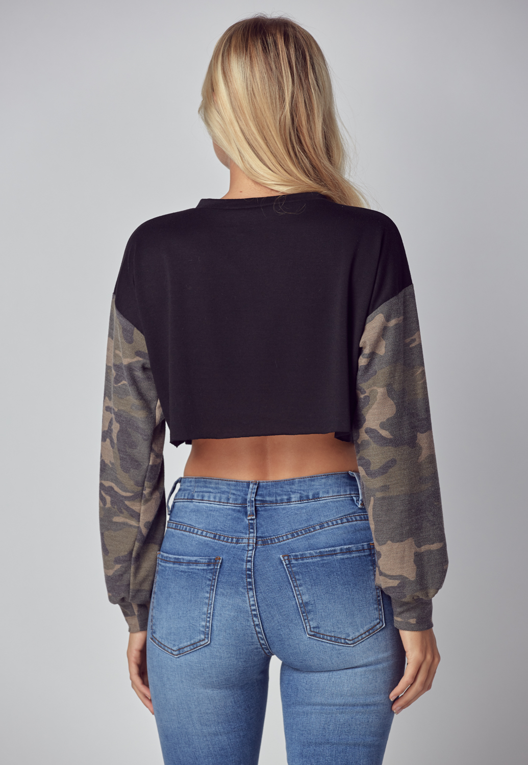 Camo Long Sleeve Crop Top