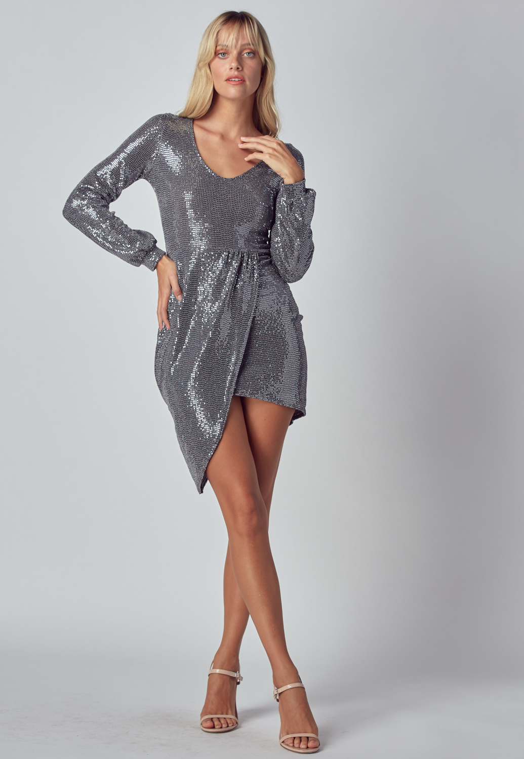 Spangle V Neck Midi Dress