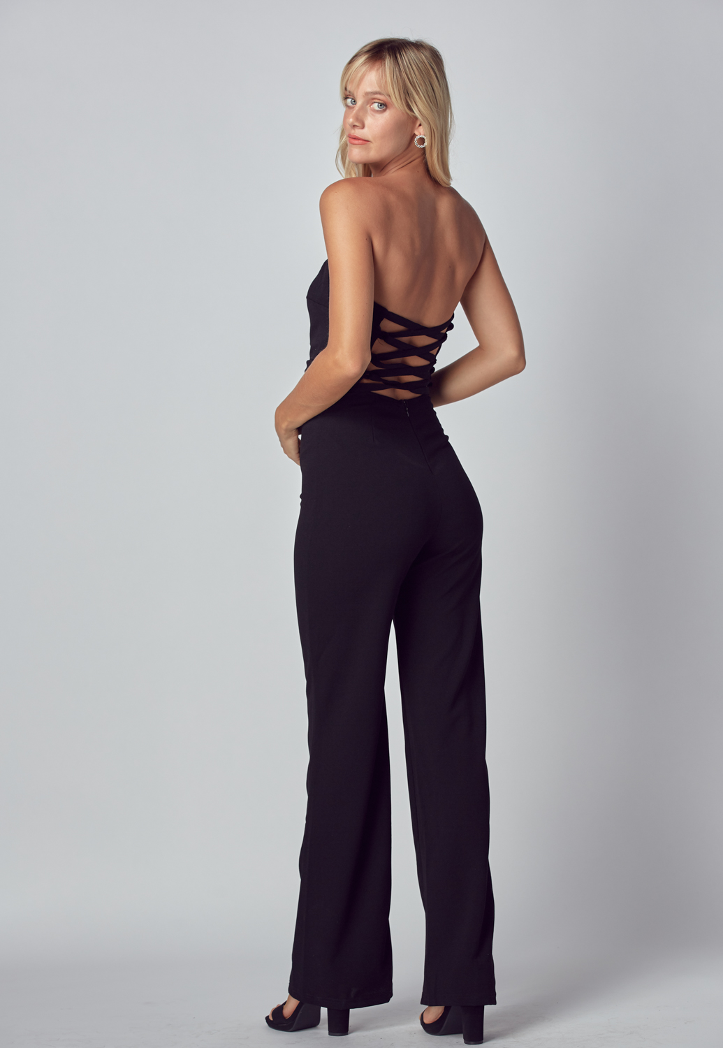 Criss Cross Back Detail Long Jumpsuit