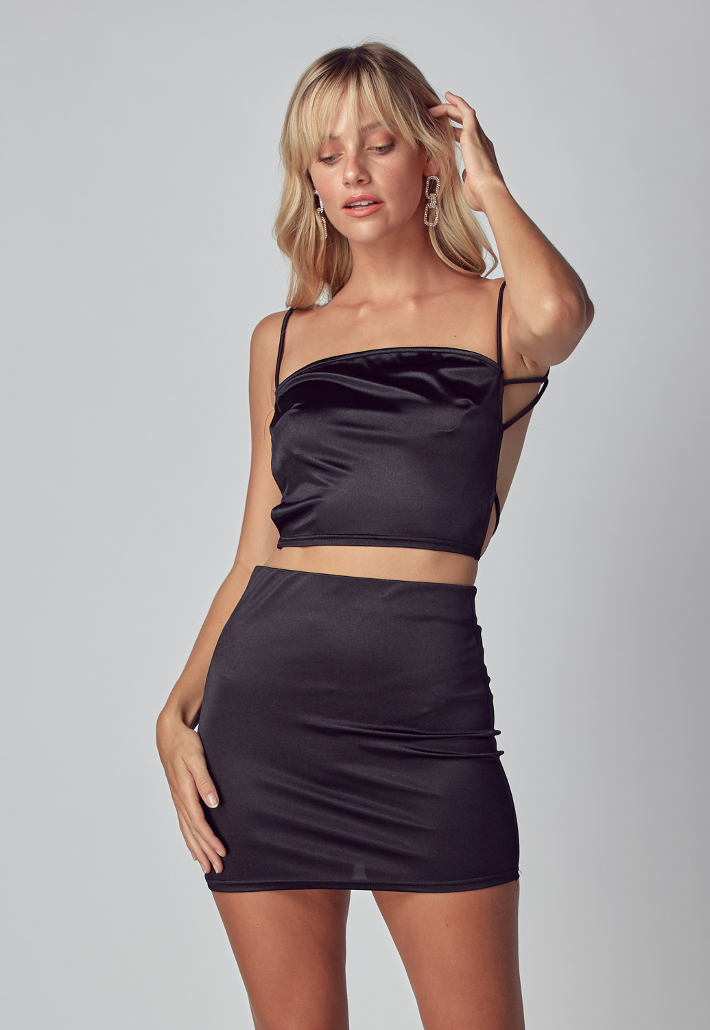 Satin Crop Top & Mini Skirt Set