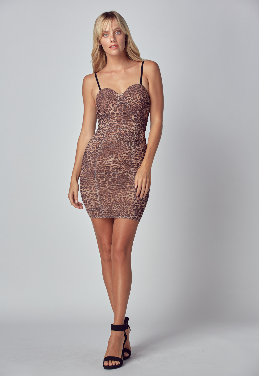 Ruched Leopard Print Bodycon Dress