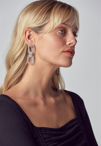 Drop Earring With Two Square Connect