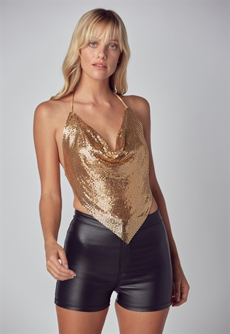 Metal Cowl Neck Halter Top