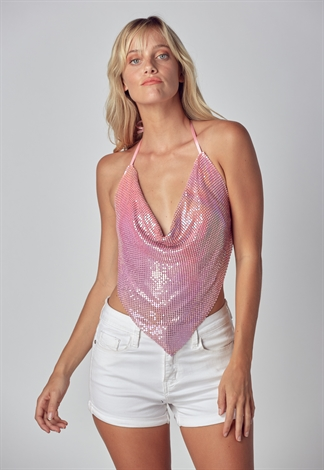 Shiny Metal Cowl Neck Halter Top