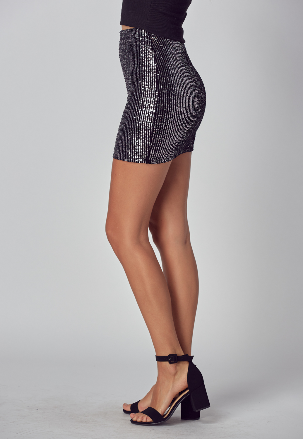 High Waisted Spangle Mini Skirt