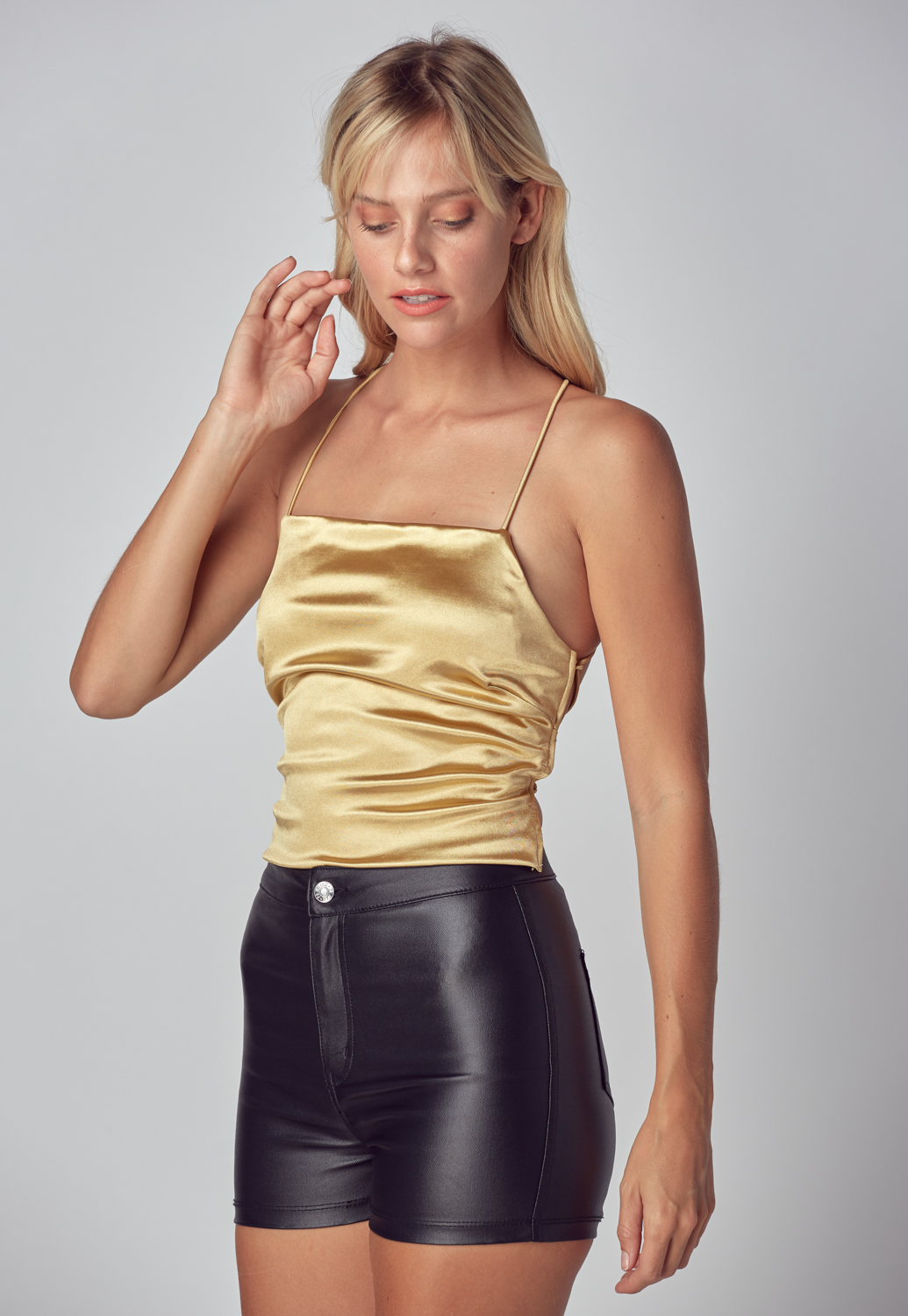 Back At It Satin Crop Top