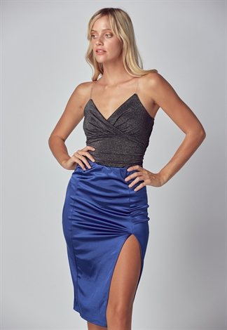 Satin Side Slit Skirt