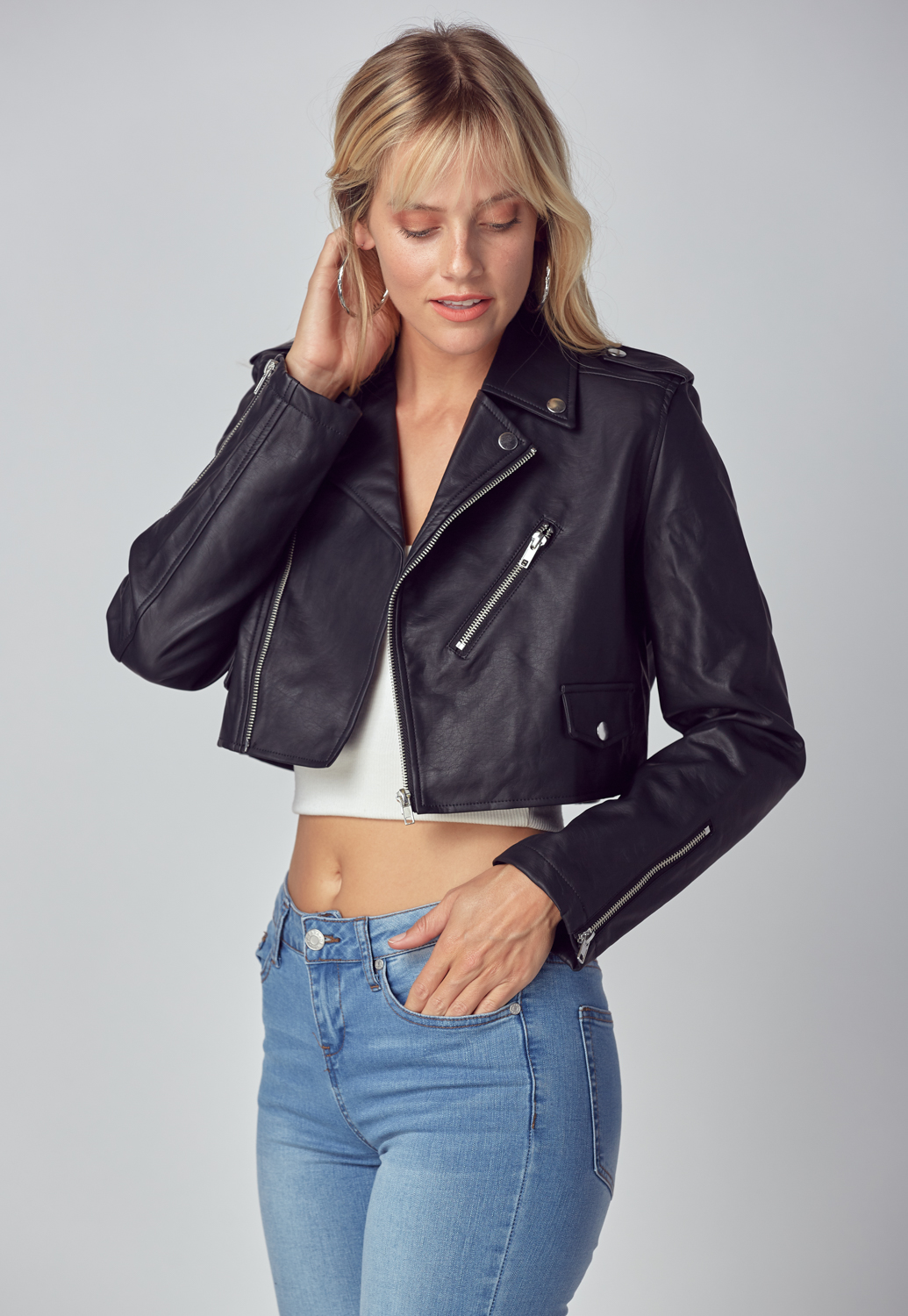 Short Leather Biker Jacket