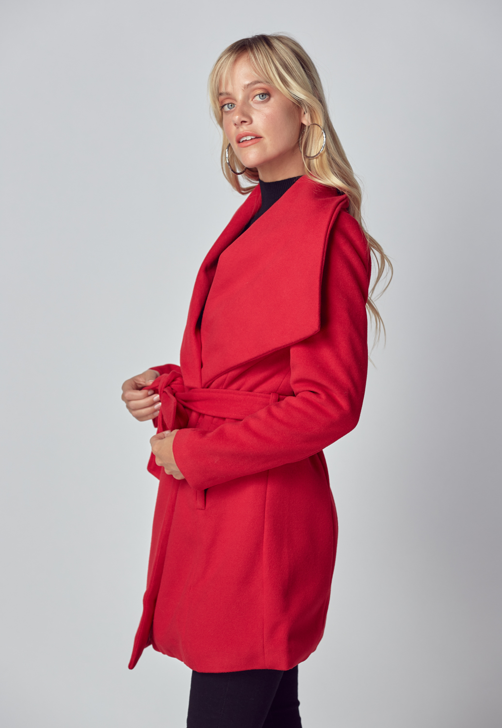 Belted Wrap Front Coat