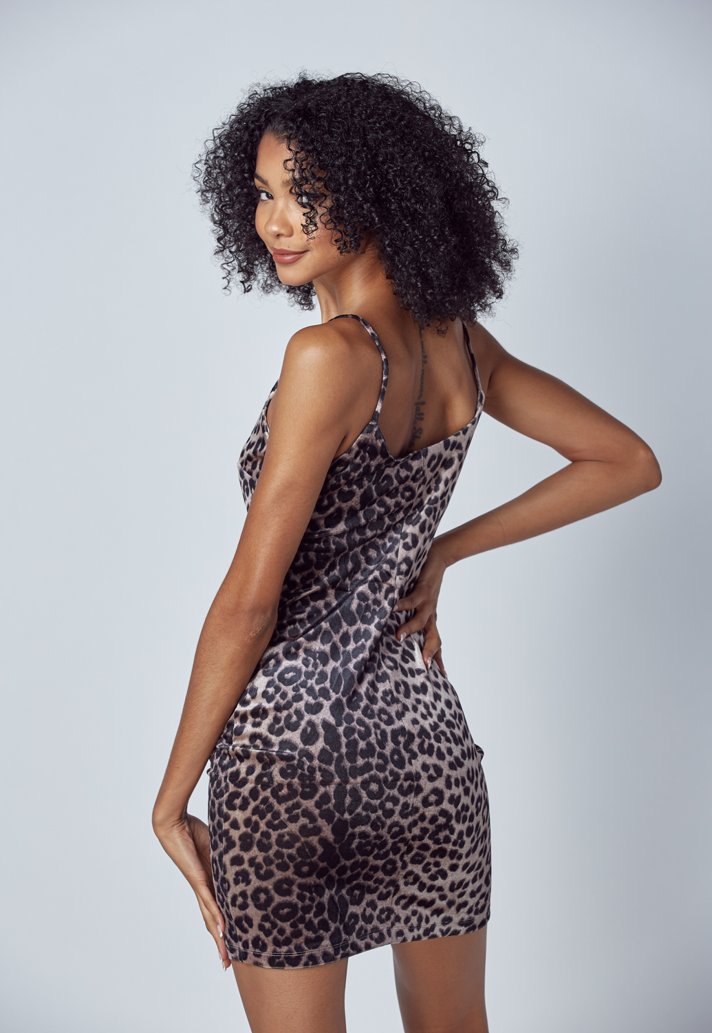 Velvet Leopard Print Mini Dress