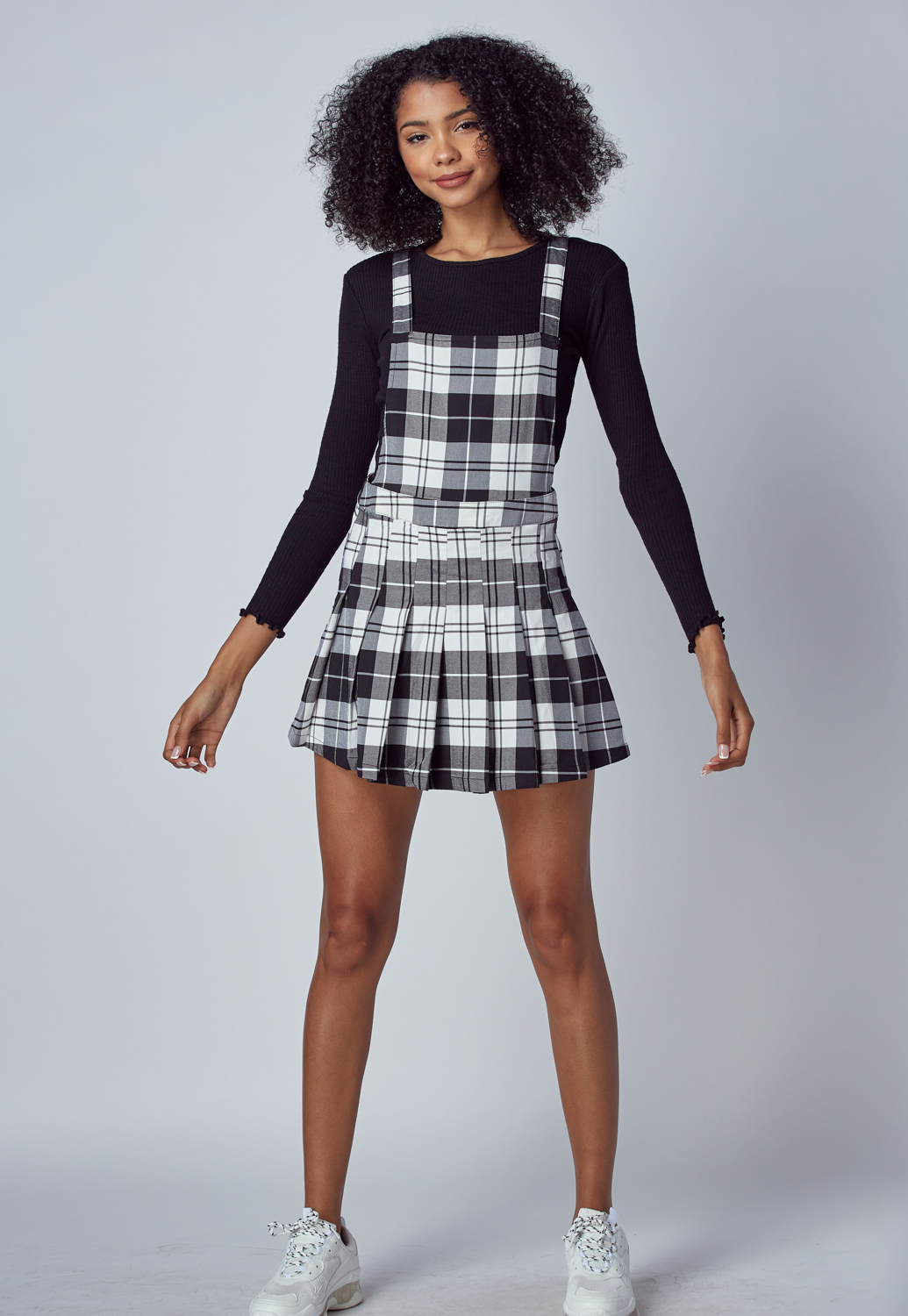Fall Must Have Plaid Overall Pleated Skirt