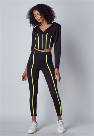 Neon Lined Detail Zip-Up Hoodie & Pant Set