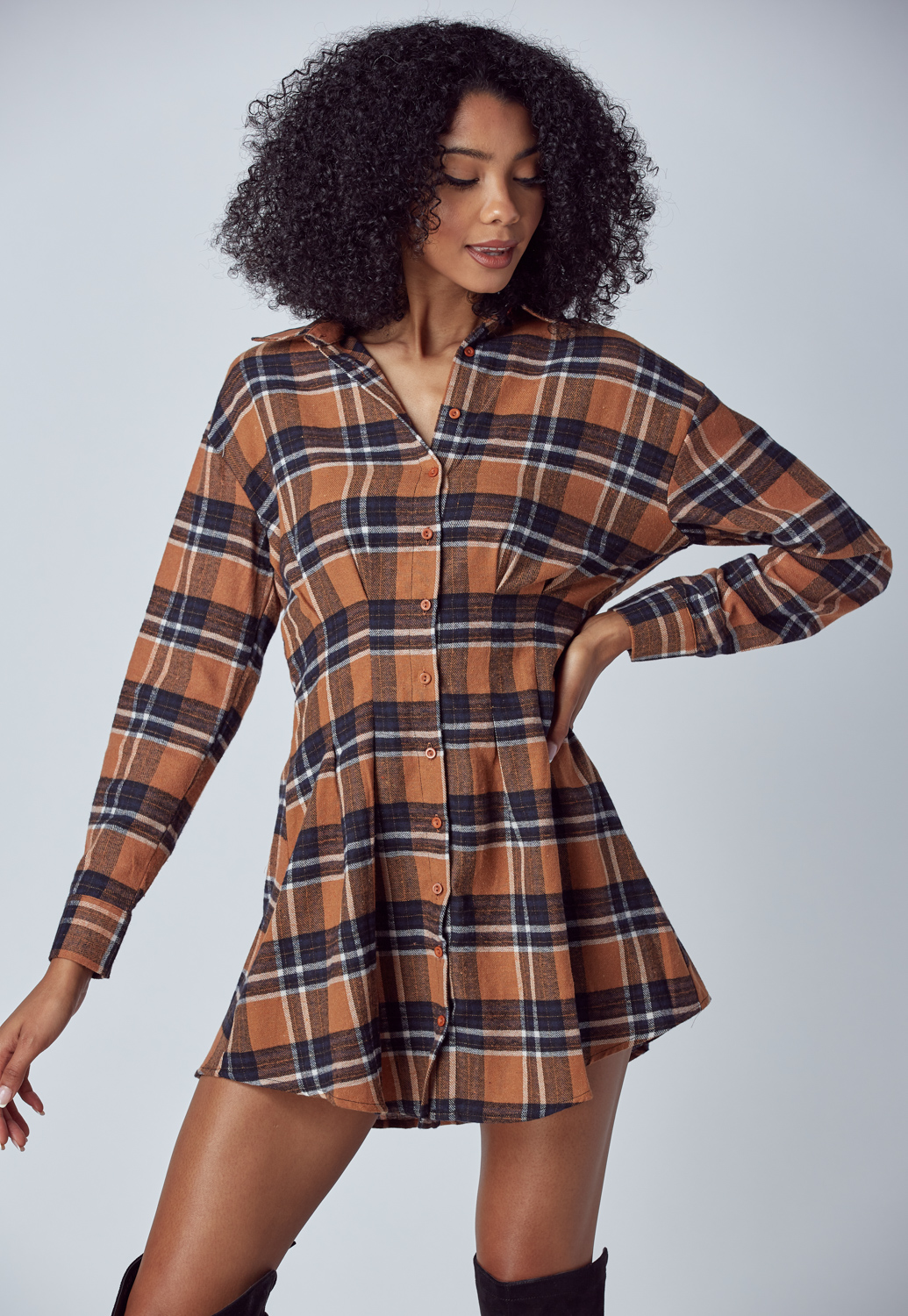 Check Pattern Shirt Dress