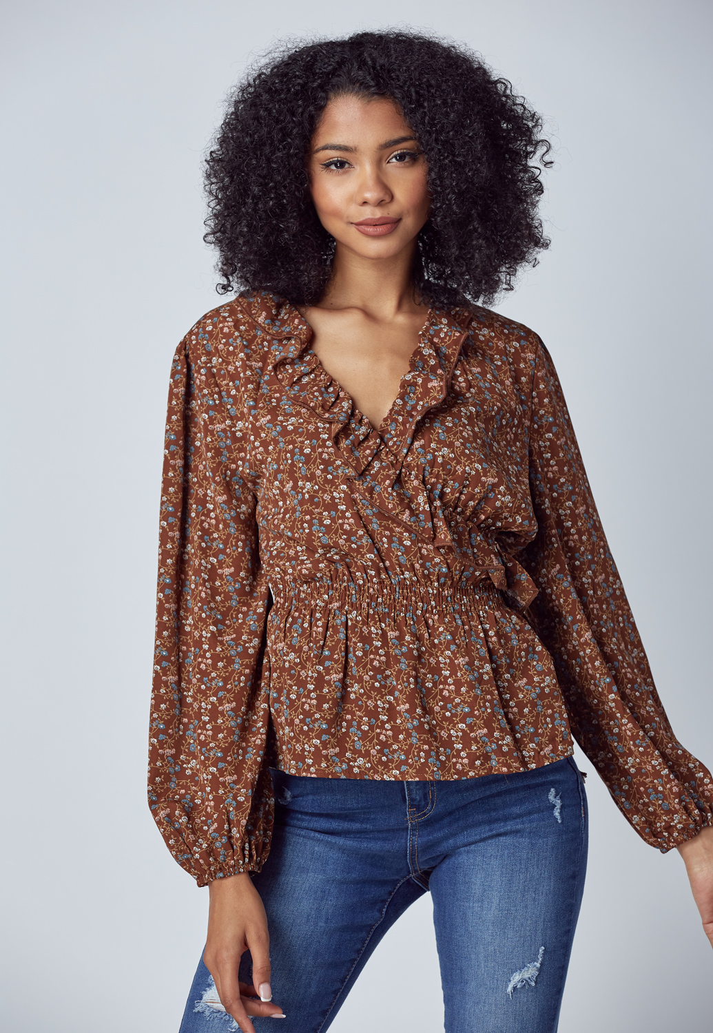 Floral Lace Trim Wrap Top Blouse