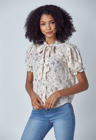Floral Tie Neck Puff Sleeve Blouse