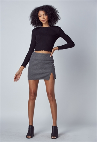 Woolen Thick Slit Mini Skirt