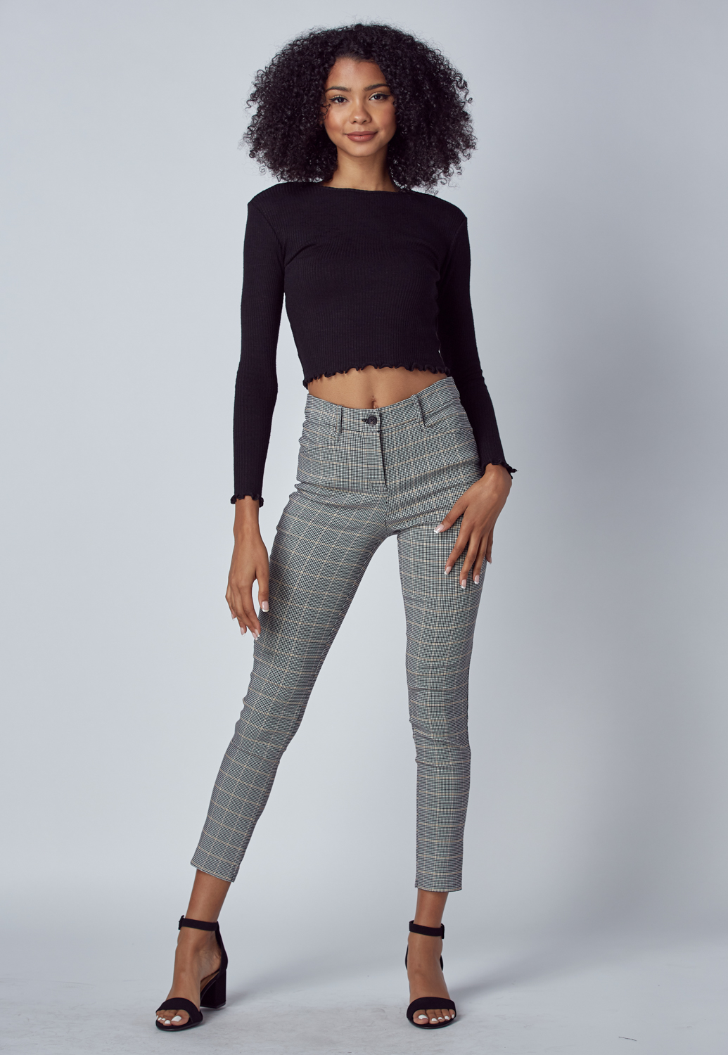 Glen Check Slim Pants