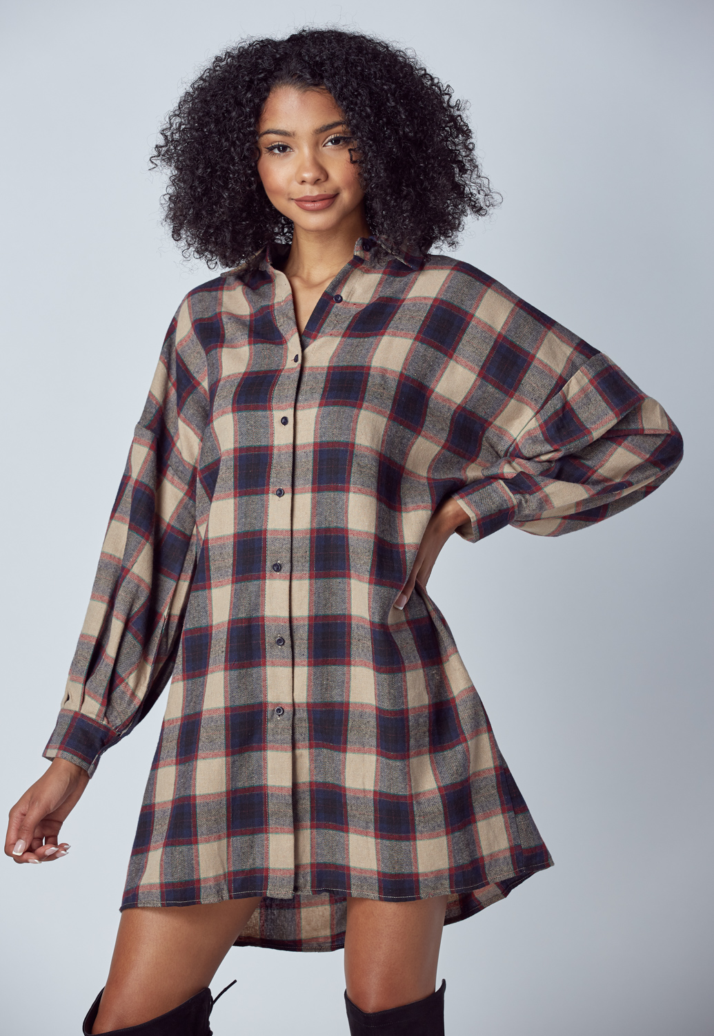Check Shirt Midi Dress