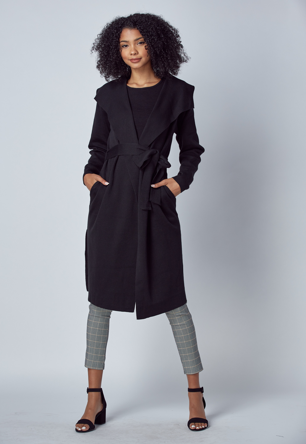 Tie-Front Side Slit Cardigan