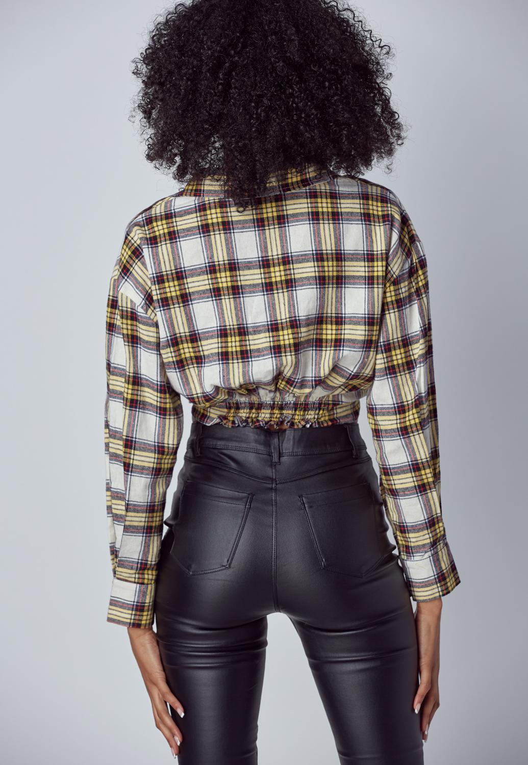 Cropped Checked Cotton Shirt