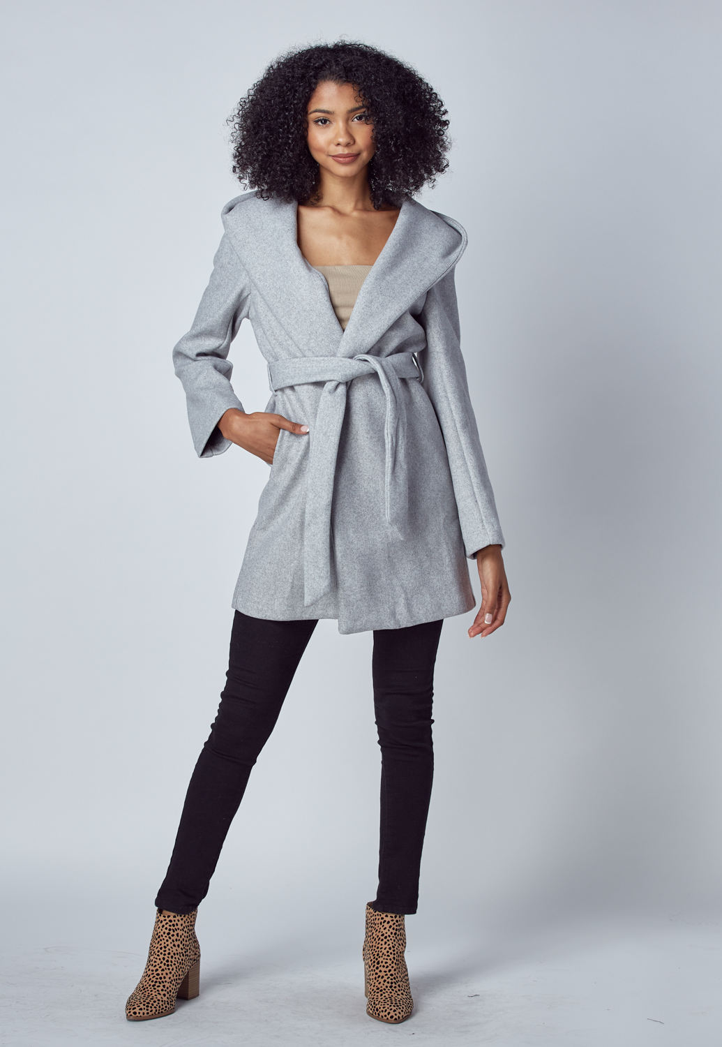 Hooded Tie Front Coat