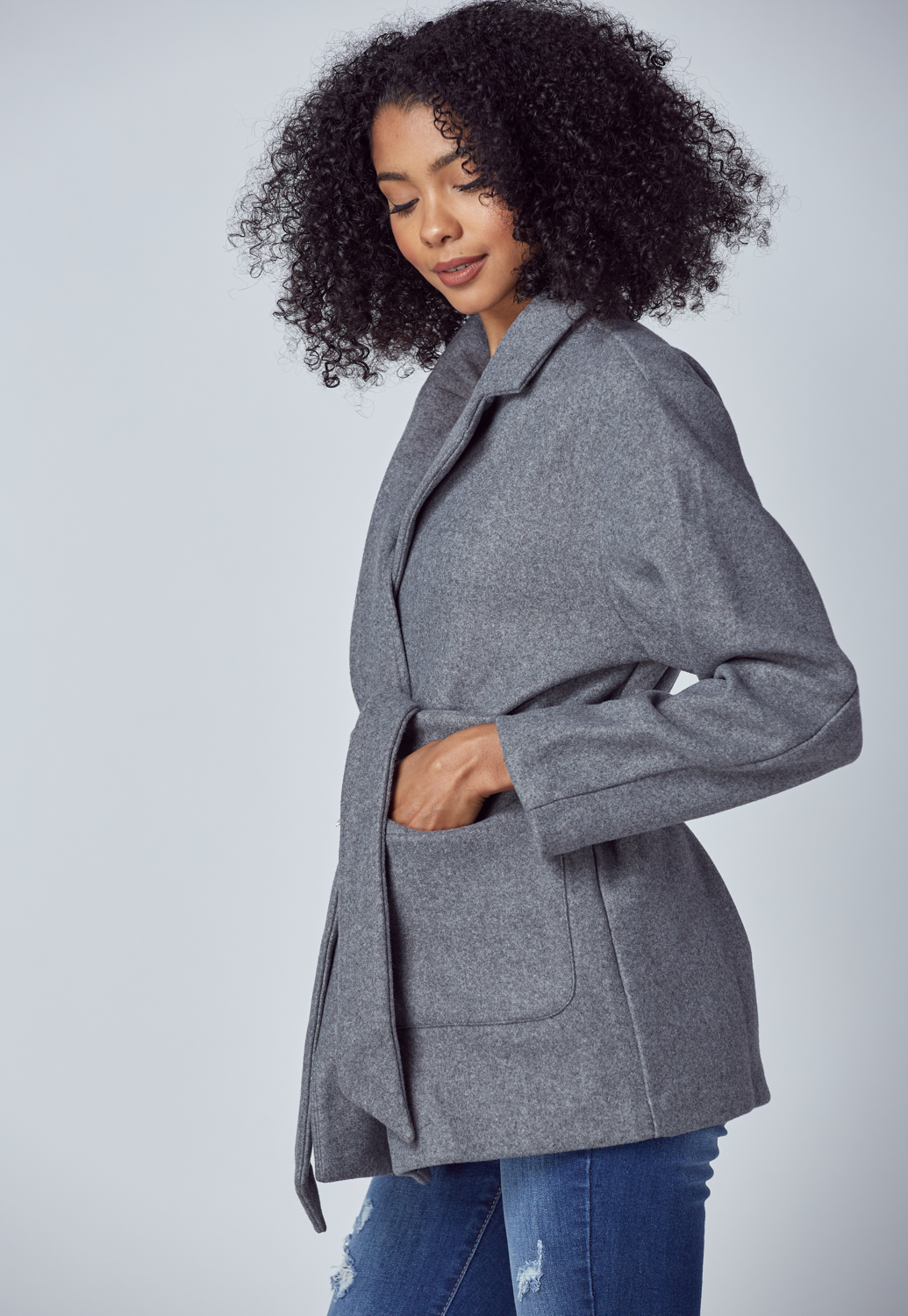 Tie Front Pocket Coat