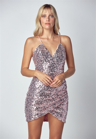 V Neck Sequin Mini Dress