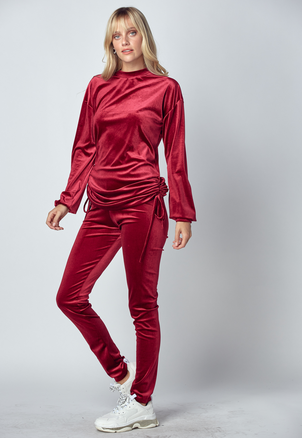 Side Drawstring Satin Top & Pants Set