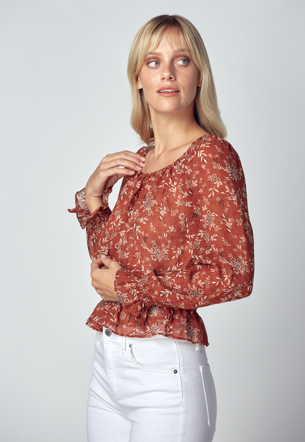 Smocked Waist Floral Blouse