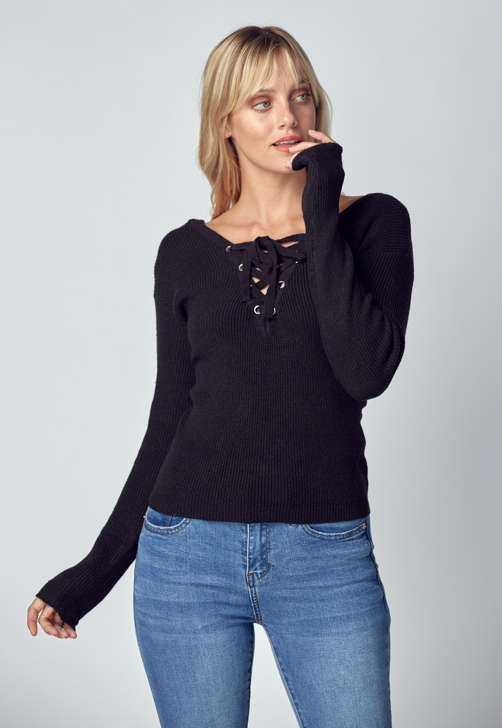 Front V Neck Cross String Tie Knit Top