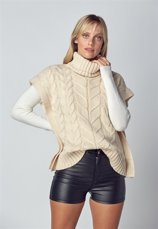 Turtleneck Cable Sweater Vest