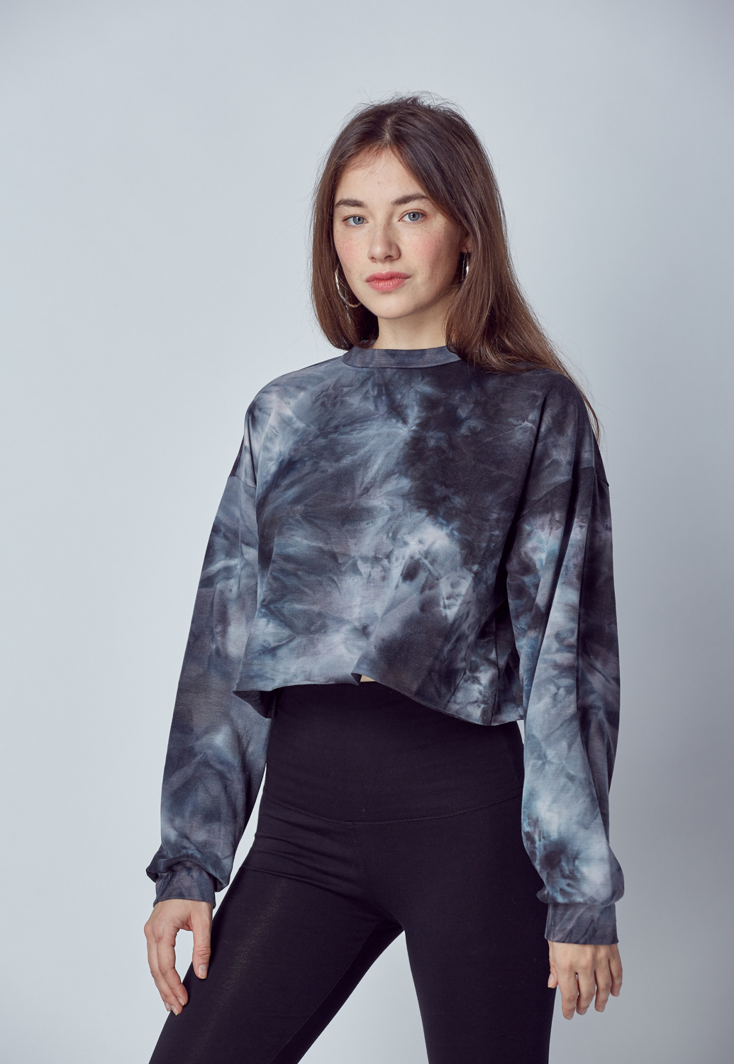 Tie Dye Long Sleeve Crop Top