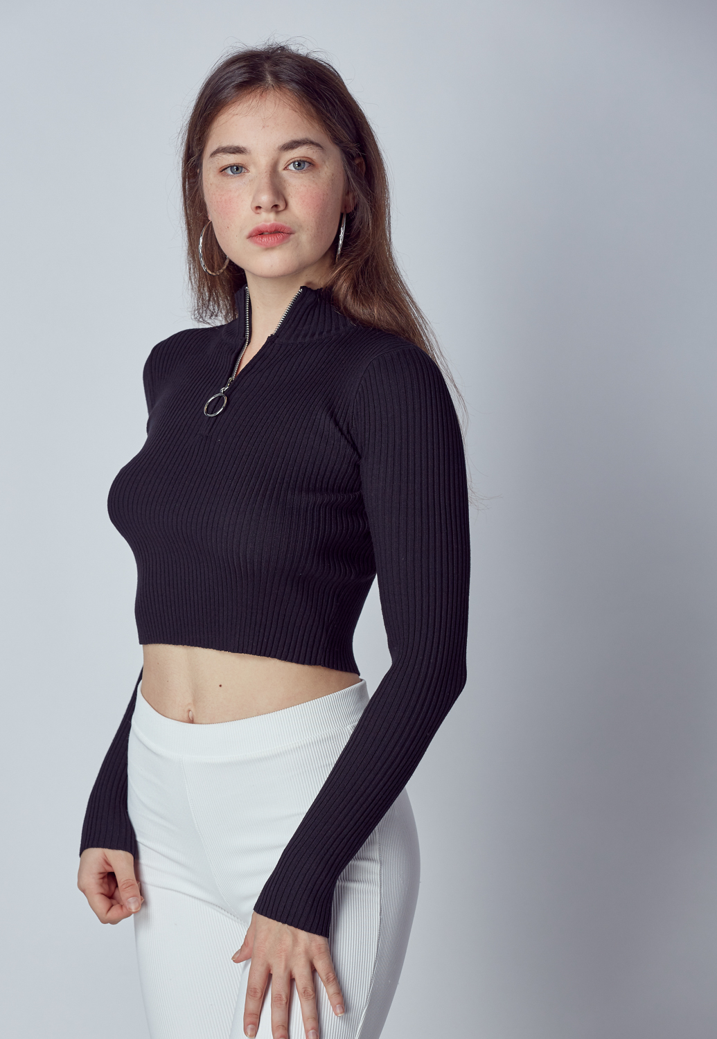 O-Ring Zipper Front Rib-Knit Crop Top