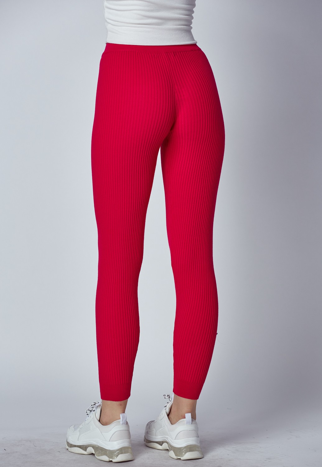 High Waist Rib-Kint Legging Pants