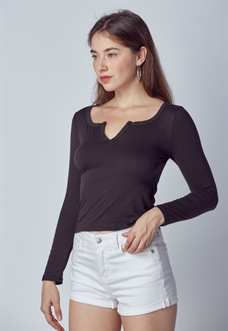 Split V-Neck Crop Top