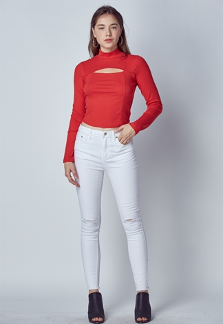 Cut Out Open Front Knit Top