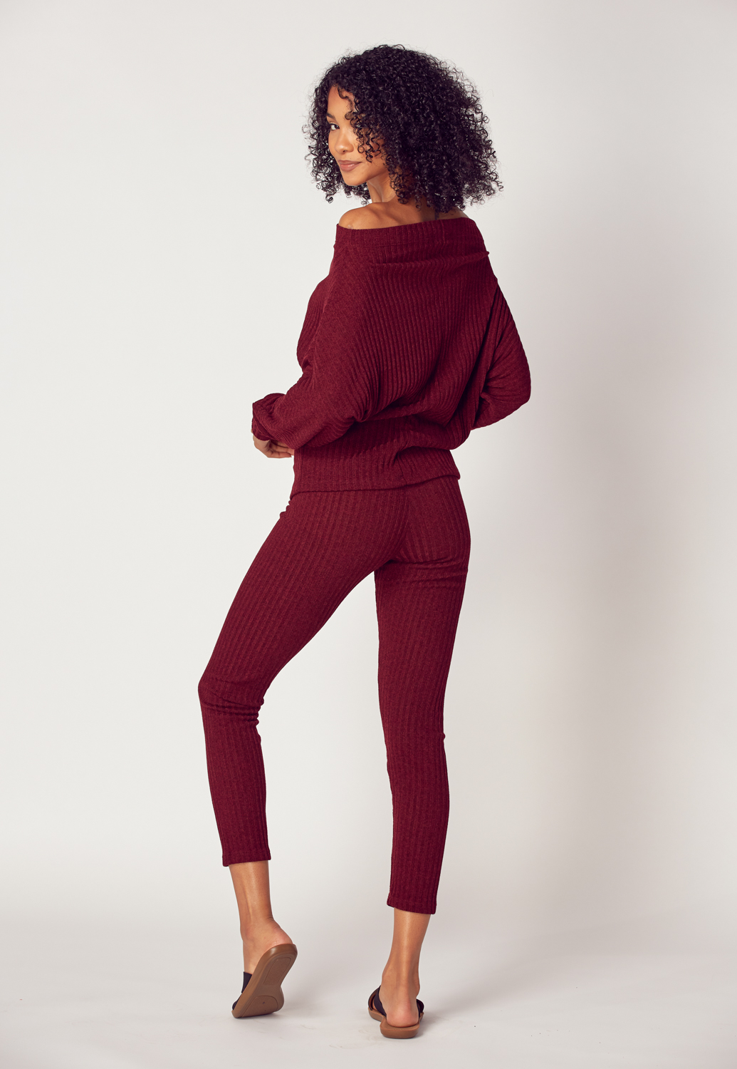 Off Shoulder Rib-Knit Top & Pants Set
