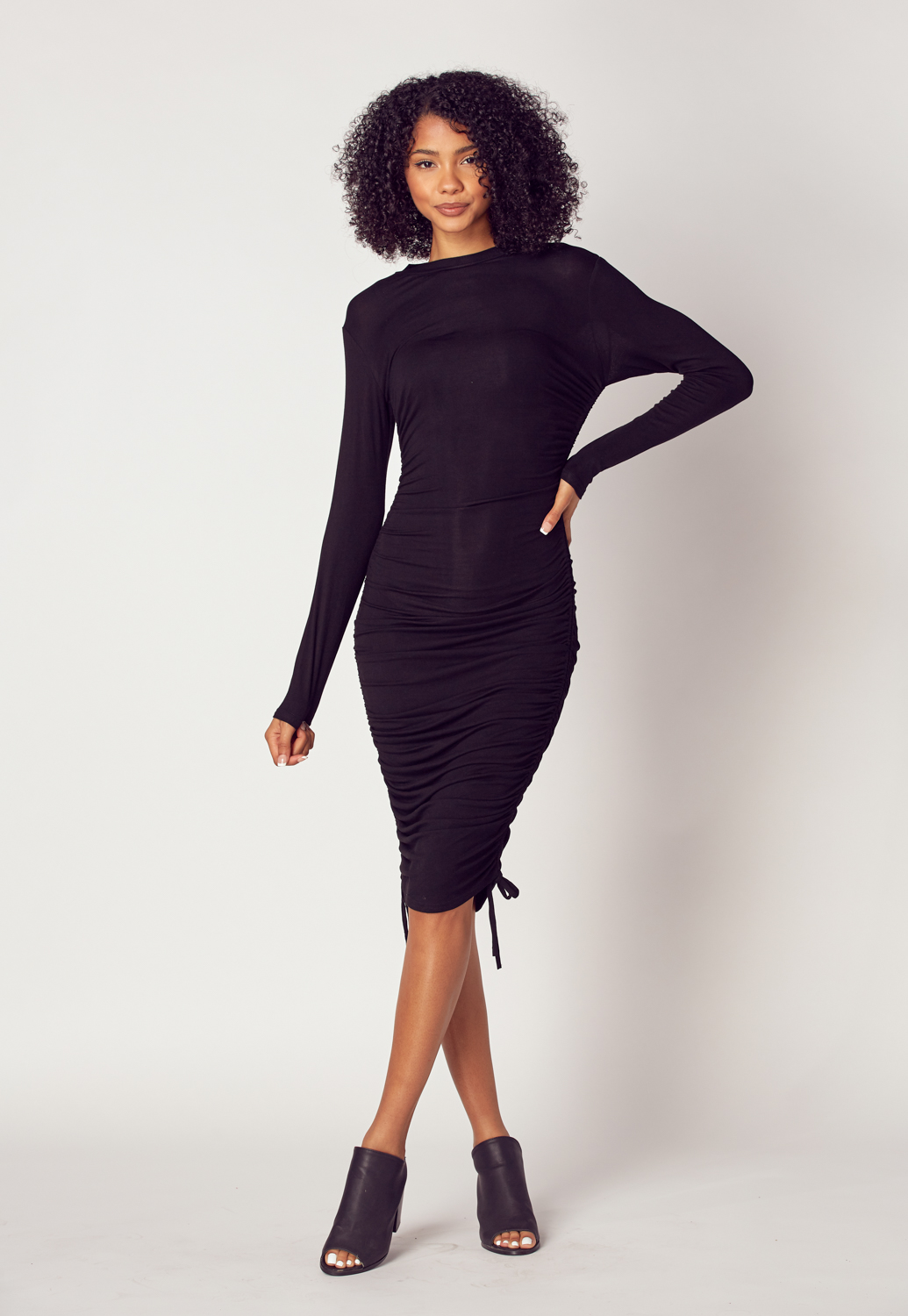 Ruched Long Sleeve Midi Dress