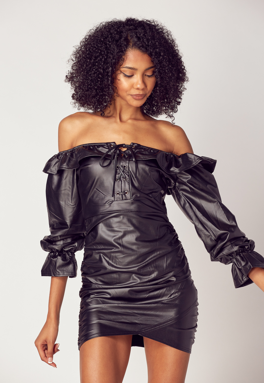 Off Shoulder Faux Leather Dress