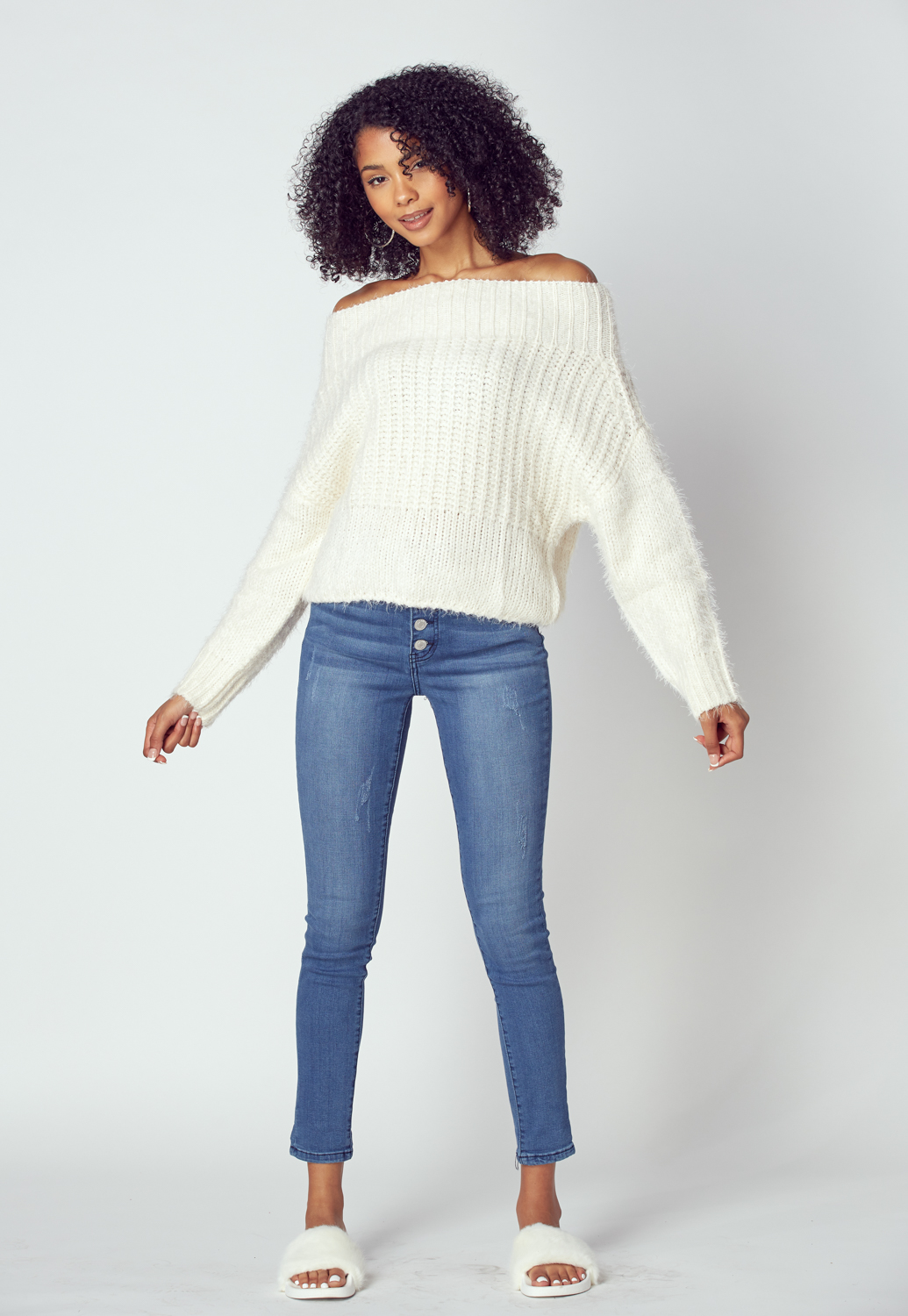 Off The Shoulder Cable Sweater