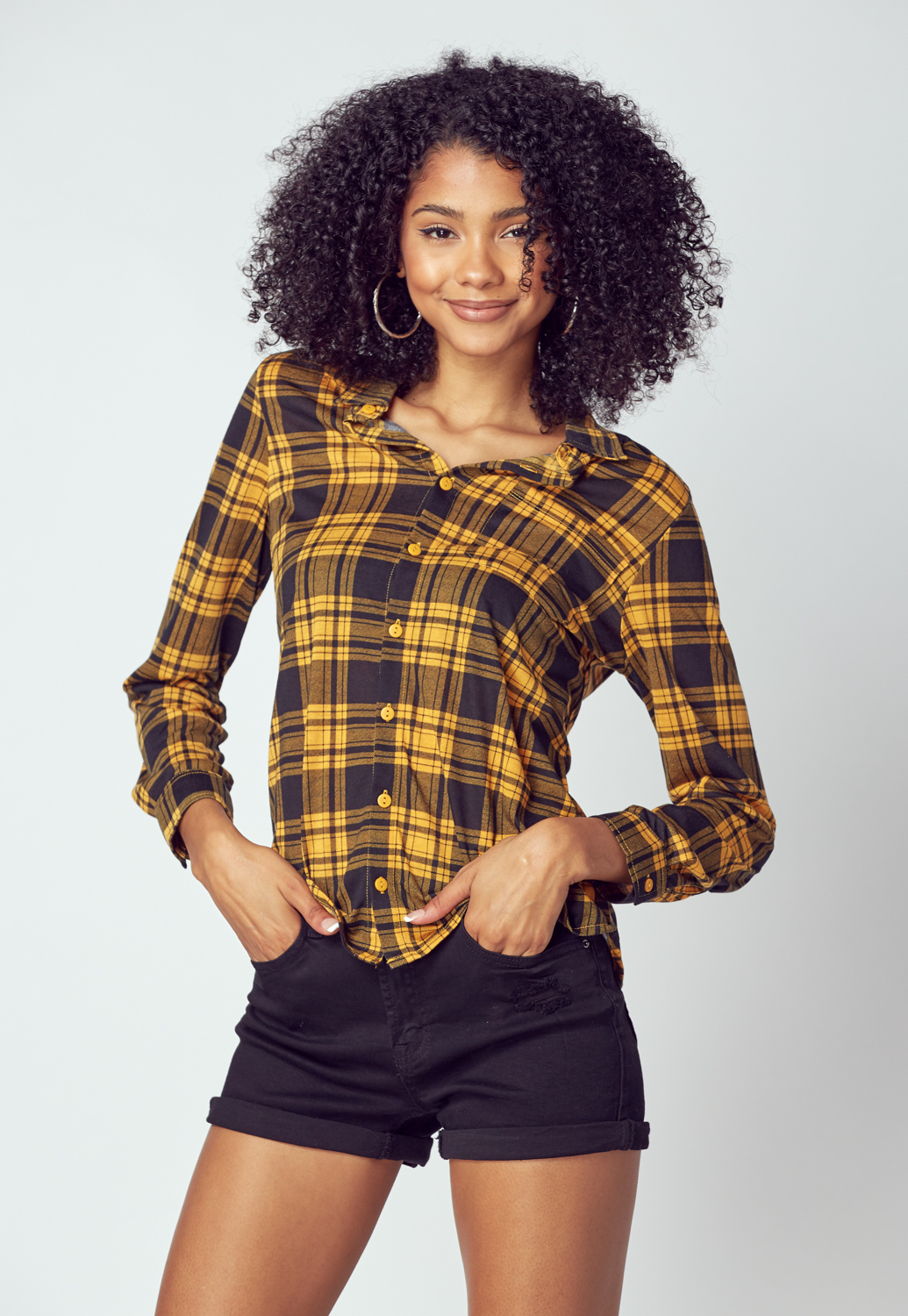 Plaid Check Shirt With Pocket Detail