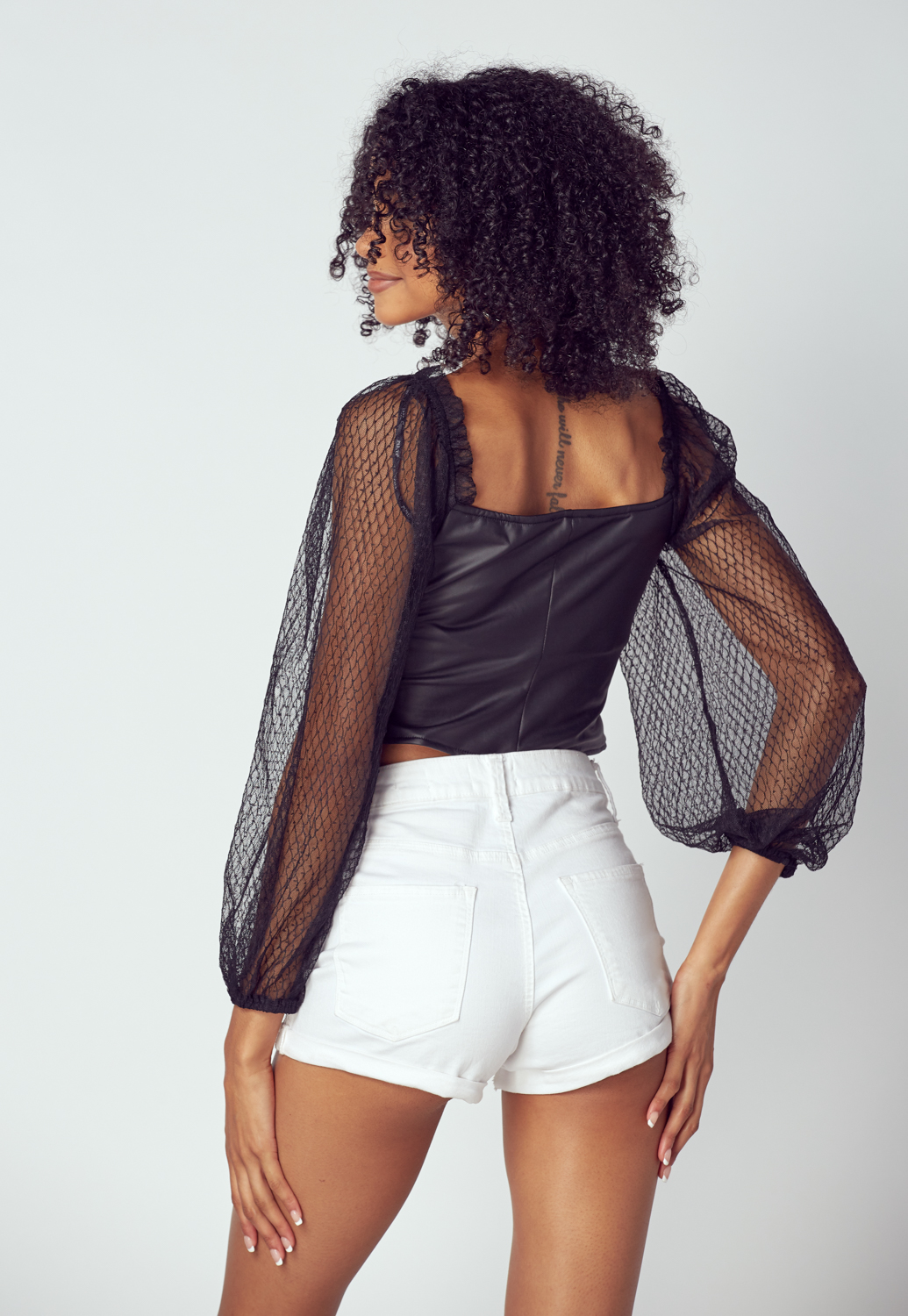 Sheer Sleeve Faux Leather Pointed Bustier