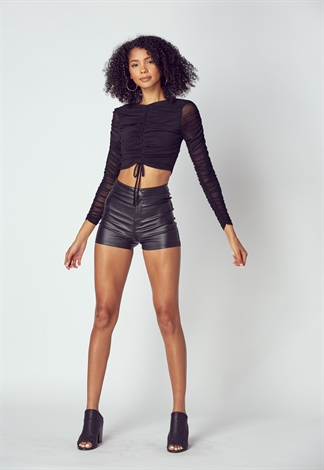 Ruched String Mesh Crop Top