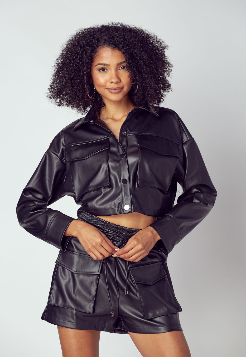 Faux Leather Pocket-Front Jacket