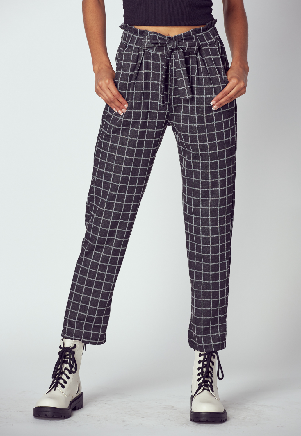 Tie Front Check Pants