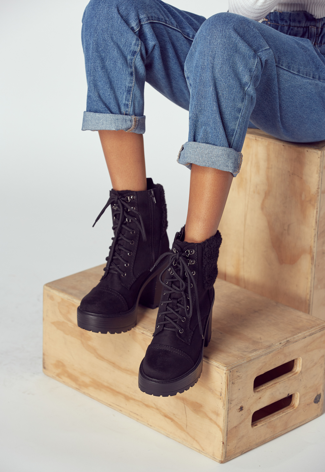Shearling Lace-Up High Heel Boots
