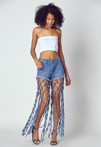 Long Knotted Fringe Detailed Denim Short